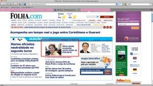 Folha destaca Dilma Roussef em sua Home-page