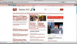 G1 Destaca Dilma em sua Home-Page