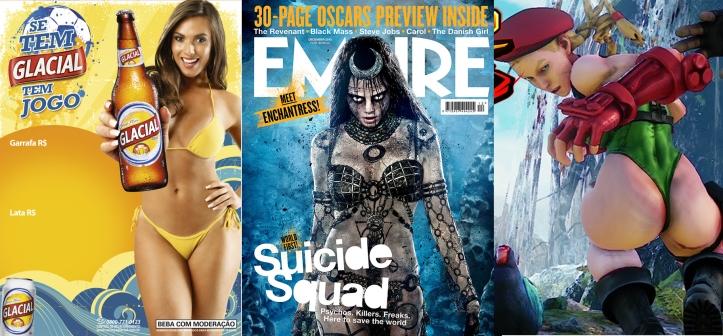 Nicole Bahls, Enchantress de Esquadrão suicida e Cammy de Street Fighter V: Projeto de Erika Kokay, pretende censurar mulheres bonita em publicidade.
